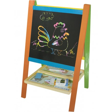 Pizarra para niños triple, de tiza, magnética y plumon