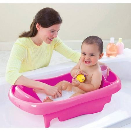 Bañera rosada The First Years para recién nacida con hamaca