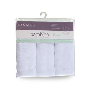 Pack 3 pañales Bambino 100% algodon blancos