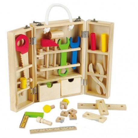 Caja de herramientas didáctica de madera