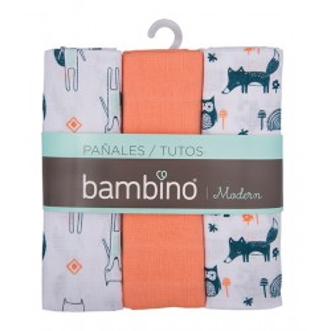 Pack 3 pañal modern naranjo bambino