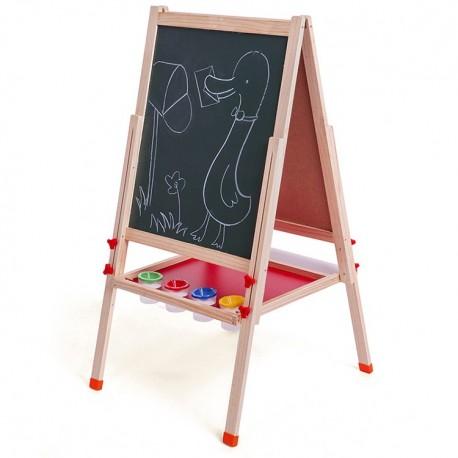 Pizarra para niños Atril Ajustable magnética, plumon y tiza