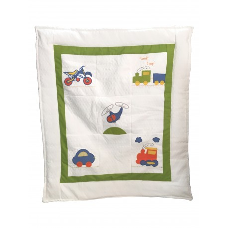 Set Ropa cuna Corral pack and play 5 piezas vehiculos