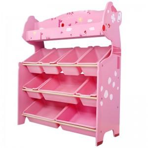 Organizador De juguetes rosado 9 cajas con revistero Onshine