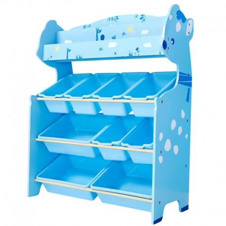 Organizador De juguetes celeste 9 cajas con revistero Onshine