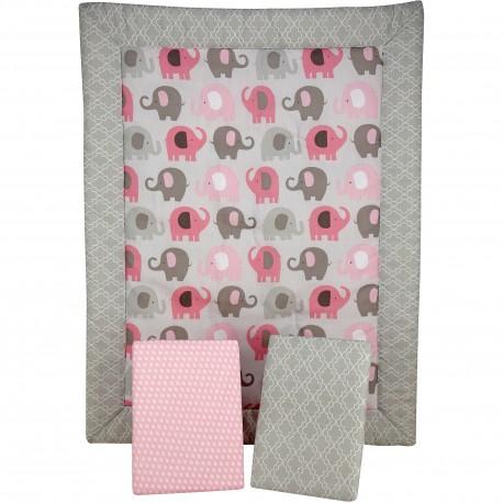 Set de ropa para cuna corral 3 piezas Elephant time