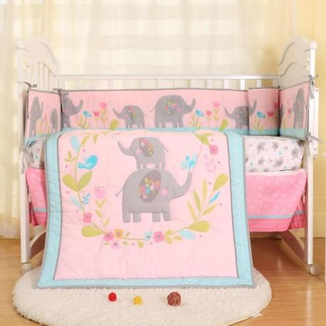 Set ropa de cuna elefanta 4 piezas telas algodón - Primavera Verano