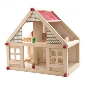 Casita madera con familia completa y muebles