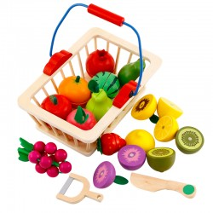 Canasto de frutas magnéticas 16 piezas.